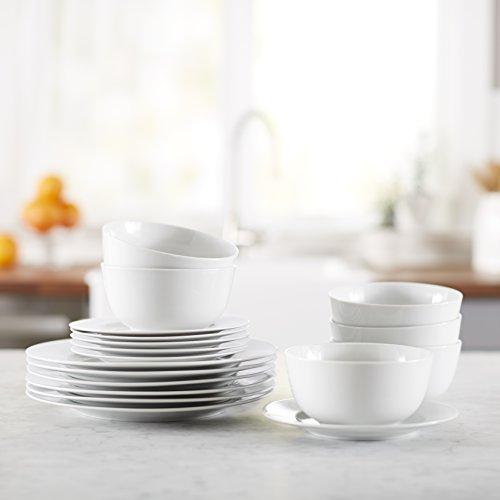 AmazonBasics 18-Piece White Kitchen Dinnerware Set, Dishes, Bowls, Service for 6