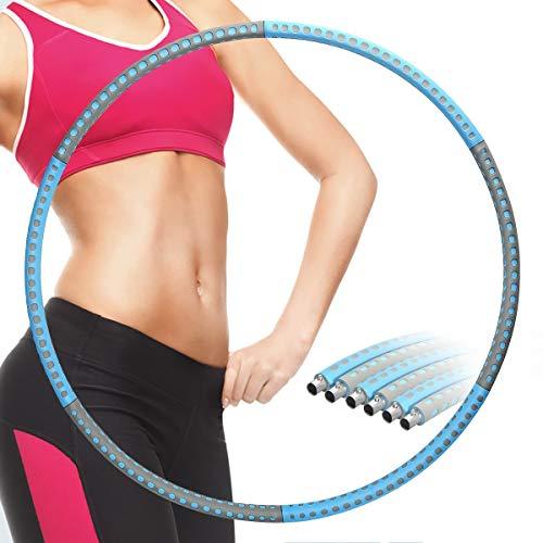 EOSVAP Fitness Hula Reifen Erwachsene, Rostfreier Stahl 6 Abschnitt Abnehmbares Hula Reifen, für Fitness Training Bauchformung, Einstellbares Gewicht
