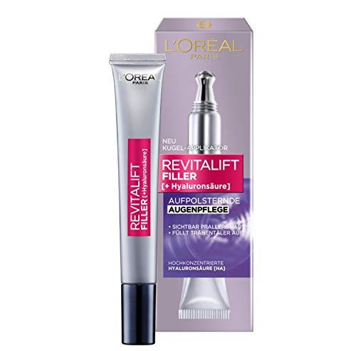 L'Oréal Paris Revitalift Filler Hyaluron Augencreme, Anti-Aging Augenpflege mit Hyaluronsäure, gegen Augenringe und Falten, intensive Feuchtigkeit, 15ml