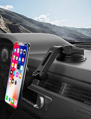IPOW Upgraded No Glue Car Phone Mount Windshield with Strong Suction Long Arm Cell Phone Holder for Car with X-Shaped Clamp Fits Thick//Irregular Phone Case 4351536357