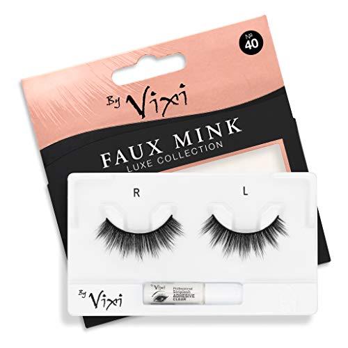By Vixi Artificiels Cils (Réutilisable avec 1g COLLE) Bande Noir Ultra Confortable - Vison Artificiel Luxueux n°. 40