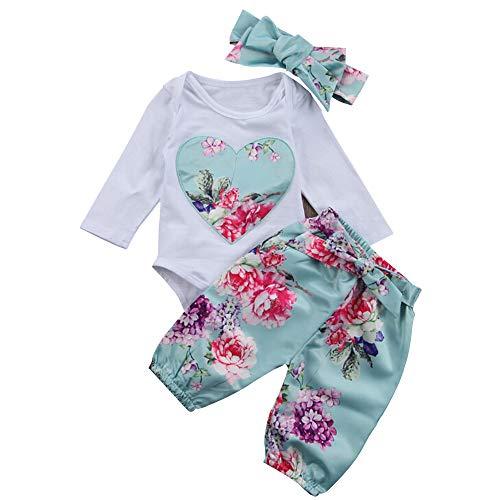 Bebé Niña Body de Manga Larga Amor Tops+ Mameluco de algodón Floral Pantalones +Sombreros Ropa Traje (Azul, 3-6 Meses)