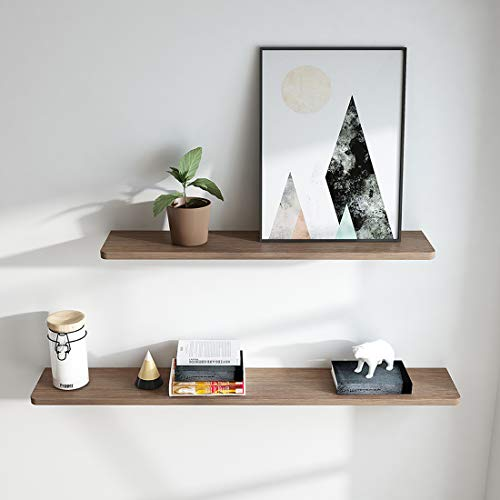 EMKE Wandregal Schweberegal Hängeregal Wandboard, Ideal Wandregal 2 Set für Wohnzimmer Schlafzimmer Flur Badezimmer, Länge 80cm and 110cm