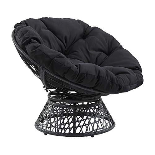 OSP Home Furnishings Wicker Papasan Chair with 360-degree Swivel, Black