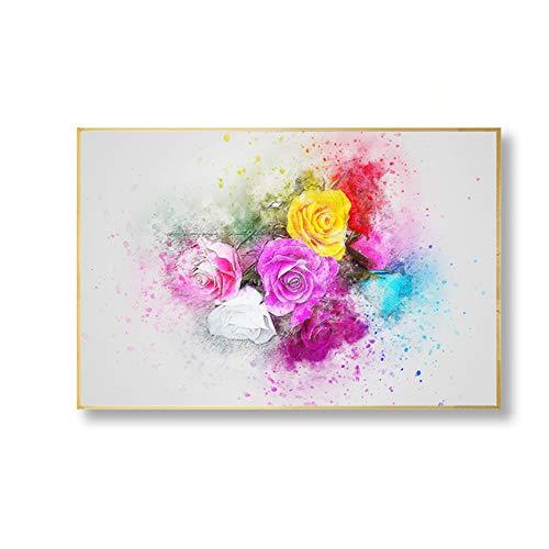 NIESHUIJING druk op canvas bloemendecoratie abstract muurkunst canvasdruk aquarel plant lavendel roze poster pictures-60x80cm No Frame