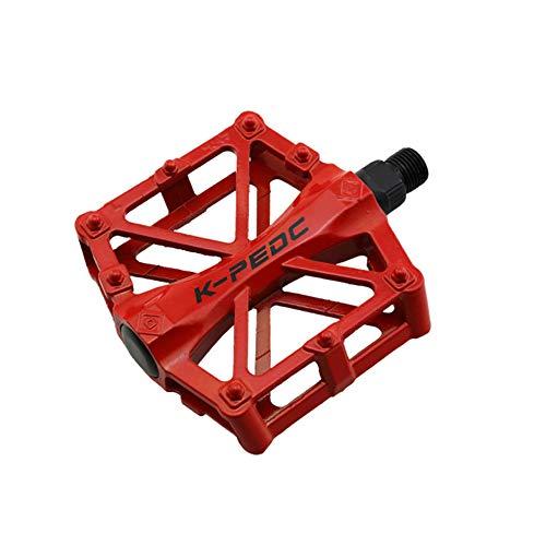VOANZO Fahrradpedale, Fahrradpedale Aluminium rutschfeste Langlebige Mountainbike Pedale, MTB BMX Radfahren Fahrradpedale (Rot)