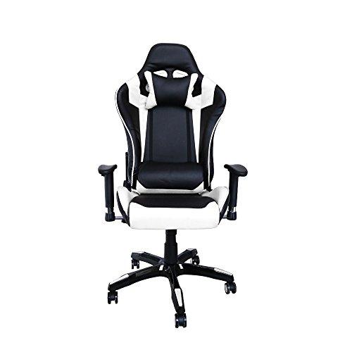 huigou HG® Bürodrehstuhl Racing Stuhl Chefsessel Premium gepolsterte Armlehnen Belastbarkeit 200 kg Ergonomischer Einstellbare Exekutivbüro Schreibtischstuhl Schwarz/weiß
