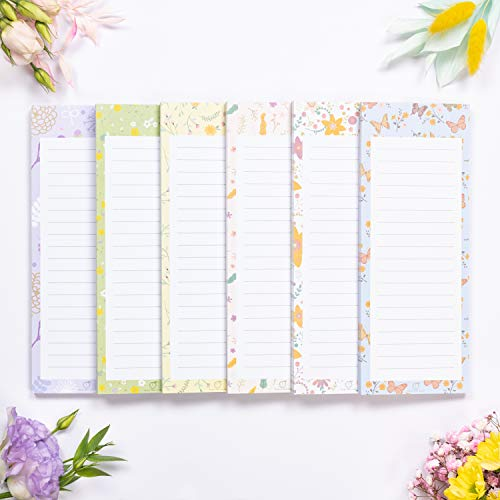 """Peach Tree Shade Magnetic Notepads, 6-Pack 60 Sheets Per Pad 3.5"""" x 9"""", Flower Patterns, for Fridge, Kitchen, Shopping, Grocery, To-Do List, Memo, Reminder, Book, Party, Stationery, (Floralnotes)"""