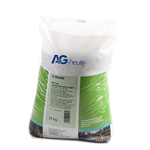 A&G-heute Filtersand 25kg Körnung 1.0-1.6 mm Poolfilter Teichfilter Quarzsand für Sandfilteranlagen Feuergetrocknet