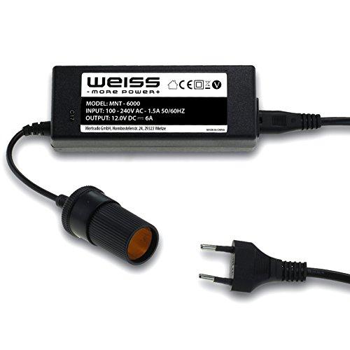 Spannungswandler 230V AC auf 12V/6A DC (max. 72W) mit Zigarettenanzünderbuchse für 12V-Kühlboxen Netzgleichrichter Netzteil Ladegerät Auto Zigarettenanzünder Umwandler von Weiss - More Power +
