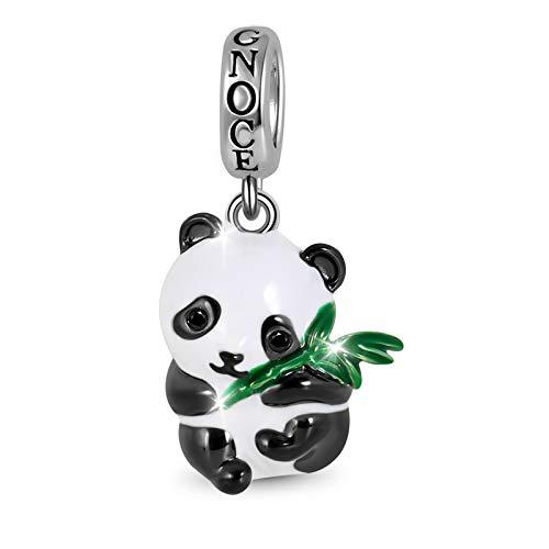 GNOCE Panda Abrazando Colgante De Bambú Encantos De Plata De Ley Cuentas De Animales Pulsera/Collar...