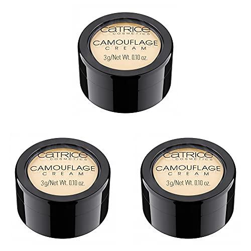Catrice Camouflage Cream, Concealer, Abdeckcreme, Nr. 015 Fair, nude, für Mischhaut, für trockene Haut, für unreine Haut, Anti-Pickel, ohne Parfüm, ohne Alkohol, ohne Parabene, 3er Pack (3 x 3g)