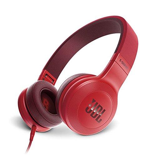 JBL E35 - Auriculares Supraaurales en el Diseño Plegables con Universal de 1Botones de Mando a Distancia y Micrófono extraíble Cable, rojo