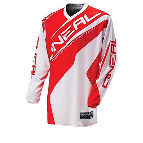 O'Neal Element MX Jersey RACEWEAR Weiß Rot Trikot Mootocross Enduro Offroad Downhill, 0024R-31, Größe L