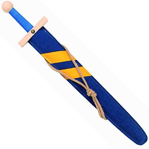 Stabiles Lancelot Schwert-Set blau, 60cm Länge mit Schwert aus Buche-Echtholz und Schwert-Scheide aus Filz [Tolles Design | Viele Details| Made in Germany]