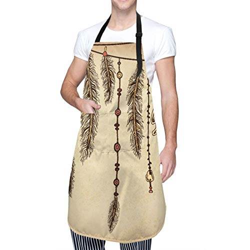 Adjustable Neck Hanging Personalized Waterproof Apron,Tribal,Bohemian Ethnic Hair Accessories with Bird Feathers Beads On String Sketch,Kitchen Bib Gown for Men Women with 2 Center Pockets