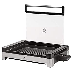 WMF Lono Tischgrill elektrisch mit Glasdeckel, beschichtete Grillplatte, herausnehmbare Auffangschale, spülmaschinenfest, Edelstahl matt, 2200 Watt