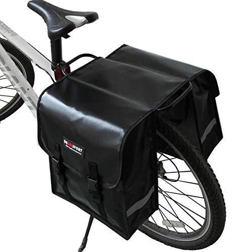 Groust Alforja para bicicleta, portaequipajes, doble bolsa para sillín de gran capacidad, bolsa para rueda trasera, impermeable, para bicicleta, 35 x 32 x 14 cm