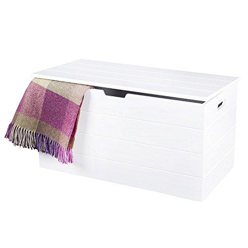 Aufbewahrungstruhe/Polsterhocker, Weiß, im skandinavischen Stil, mit langsam schließenden Scharnieren für Sicherheit, einfache klare Linien Seaton-Serie von Elegant Brands.