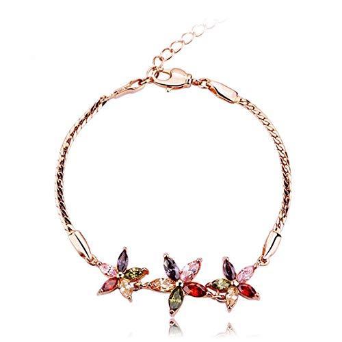 SKA Jewelry Flower Bracelet for Women Colorful CZ Daisy Floral Adjustable Chain Link Bracelet 11\'