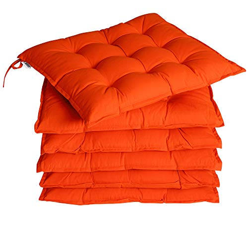 Detex 6x Garden Chair Cushion Indoor Outdoor Patio Seat Pad with Ties Thick Soft Pillow Plain Design Orange