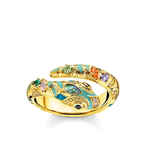 THOMAS SABO Damen Ring 925 Sterlingsilber, 750 Gelbgold Vergoldung, Kaltemail TR2286-974-7