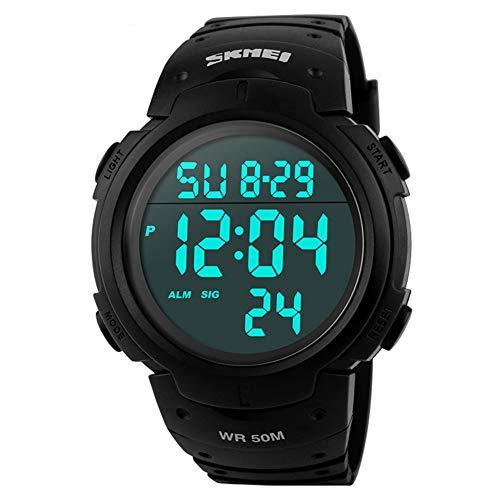 SKMEI Mens Digital Watches Waterproof LED Backlight Large Number Display Multifunction Sport Wristwatch