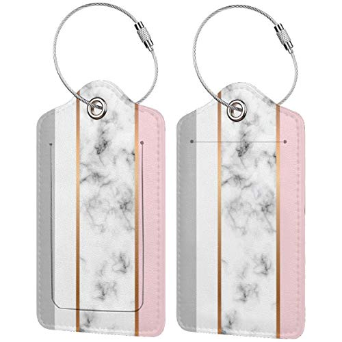 Elegant White Marble Grey Pink Luggage Tags Suitcase Carry-on Id Intial Bag Holders with Adjustable Straps for Travel Business,2 per Set