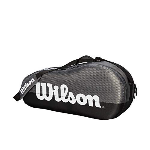 Wilson Schlägertasche Team, 1 Hauptfach, Bis zu 3 Schläger, grau/schwarz/weiß, WRZ854903
