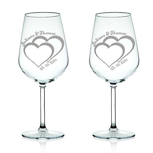Leonardo XL Weingläser graviert mit Namen im Herz Motiv als Set - Geschenkidee zur Hochzeit Jahrestag Verlobung - Romantisches Geschenk - Füllmenge: 460ml als Rotweinglas Weißweinglas geeignet