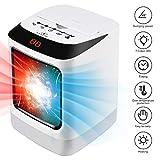 Radiateur Soufflant Céramique Chauffage avec Veilleuse 2 Mode Ventilateur Télécommande Protection Anti-surchauffe Mini Affichage LED