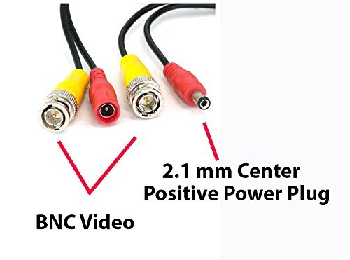 100ft Pre-Made All-in-One BNC Video and Power Cable with Connector for Surveillance CCTV Security Camera Video System, Black