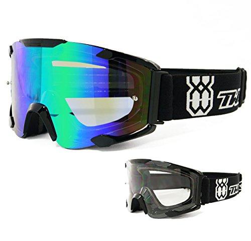 TWO-X Bomb Crossbrille schwarz Glas Light verspiegelt grün MX Brille Motocross Enduro Spiegelglas Motorradbrille Anti Scratch MX Schutzbrille