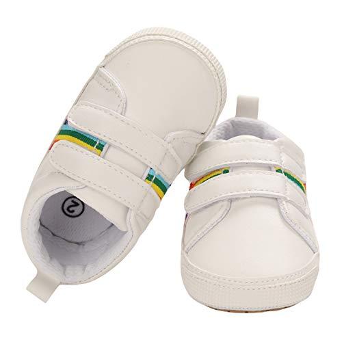 SCEINRET Tênis infantil para meninos e meninas com cadarço, macio, antiderrapante, unissex, para primeiro andar, berço ao ar livre, 3 - Branco, 9-12 Months Toddler