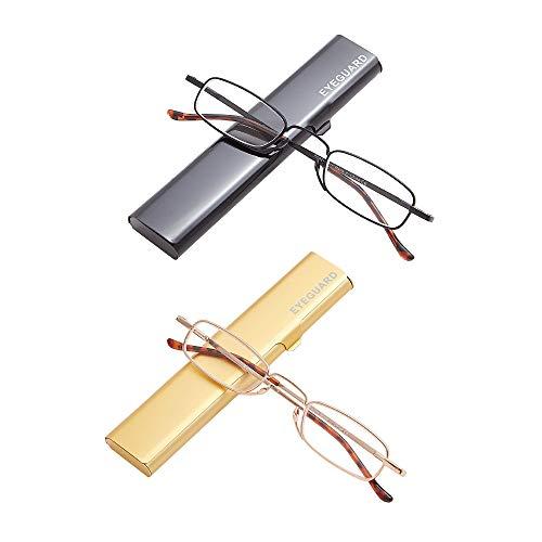 EYEGUARD Gafas de lectura delgadas, 2 pares de mini lectores compactos Superlight de bolsillo de metal con fundas portátiles para hombres y mujeres (+1,50 aumentos)