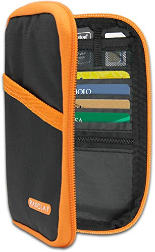 Portafoglio Compatto RFID 6 Carte da Viaggio Porta Passaporto Documenti Custodia Portadocumenti Uomo Donna 3a-Generazione Piccolo Slim Organizer 13-Tasche Monete Protezione Schermato Blocco - RAXCLAY®