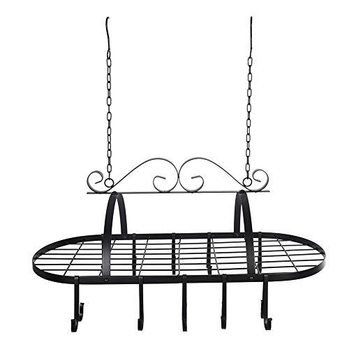 Porte Casseroles Mural INOX, Rack Cuisine Métal avec 10 Crochets Porte-Casseroles Industrielle de Suspension Porte Casseroles Plafond Noir 80 * 40 * 62cm