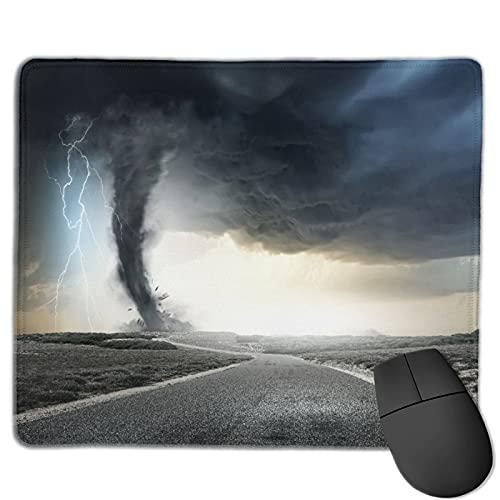 Benutzerdefinierte Office-Mauspad,Schwarzer Tornado-Trichter-Gas und Donner,di,Anti-Rutsch-Gummibasis Gaming Mouse Pad Mat Desk Decor 9.8