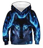 Ainuno Cool Boys Hoodie Wolf Sweatshirts Kids Girl Jacket Black Blue Hooded Hoody Sweater Size 8 10 12, Cool Wolf,8-11 Years Old