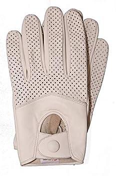 Riparo Women s Genuine Leather Half Mesh Full-Finger Driving Motorcycle Summer Riding Gloves  7.5 White