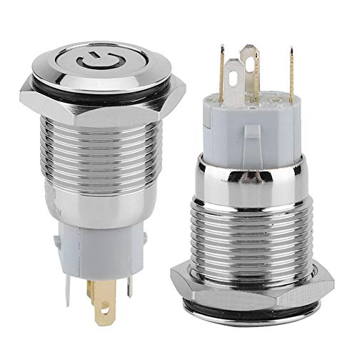 Interruptor de botón autoblocante sólido, tipo autoblocante, hecho de cobre, 16 mm, 12 VDC (rojo)