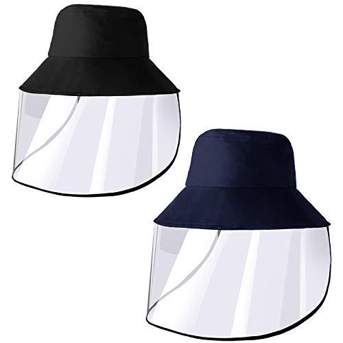 2 Stück Gesichtsschutz-Hut, Sicherheits-Schutzkappe, Anglermütze, winddicht, Gesichtsschutz für Männer und Frauen, Aktivitäten im Innen- und Außenbereich Schwarz, Marineblau
