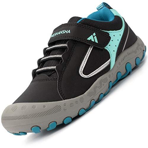 Calzado Casuales para Niños Niñas Clásico Ligeras Transpirable Zapatillas Senderismo Adolescente Cómodas Low-Top Estable Zapatos para Correr, Azul Negro 25