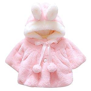 EDOTON Abrigos Bebé, Niña Infant Ropa Otoño Invierno Chaqueta con Oreja de Conejo Capucha Grueso Capa para Bebés Niña 0-36 Mes (0-6 Meses, Rosado)