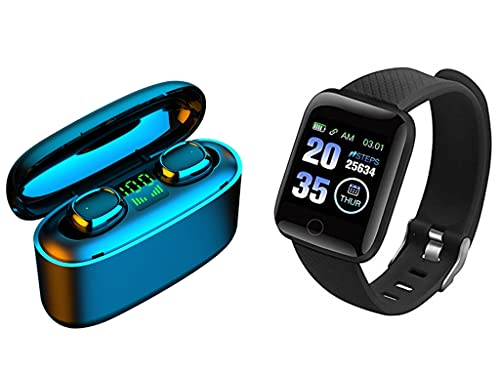 QWERT D13 Smart Armband Gesundheit Fitness Wasserdicht Sport Smart Watch Und Bluetooth Wireless 5.0 TWS Drahtloser KopfhöRer Sport Stereo In-Ear-KopfhöRer Mini-Headset (Schwarz)