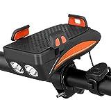 WRJ Soporte para Teléfono Celular Bicicleta, 4 En 1 Recargable Frente De La Bicicleta Light Set - 400 Lúmenes Super Brillante De 8 Horas Incorporada 4000Ma Mobile Power Bank,Naranja