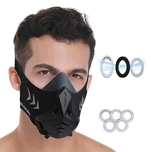 FDBRO Sports Mask PRO Maschera per Allenamento Fitness, Corsa, Resistenza, Cardio, Maschera di Resistenza per Allenamento Fitness Maschera Sportiva con Filtro in Cotone (Nero, L)
