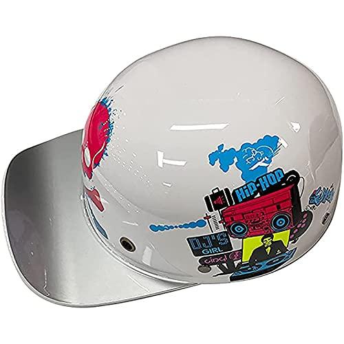 YLXD Cascos de Motocicleta ECE Homologado Material ABS Casco Moto Jet Vintage,Certificado ECE/Dot, para Hombre y Mujer, Estilo Retro, para Cruiser, Chopper, Biker C,S