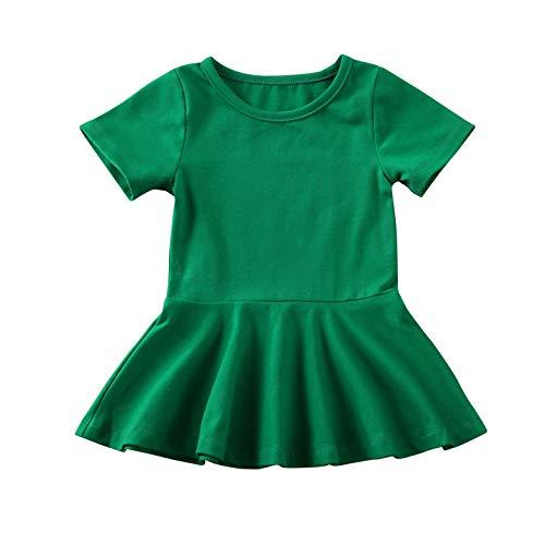 doublebabyjoy Summer Clothes Short Sleeve One-Piece Dress Ruffle Hem Short Skirt Solid Princess Dresses (Green, 0-6 Months)