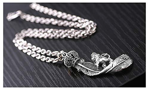 RXISHOP Collar de los Hombres Colgante de Plumas, S925 Plata en Forma de o-en Forma de Collar de Corona de león Personalizado, Padre Novio de Vacaciones Collar de Regalo Silver